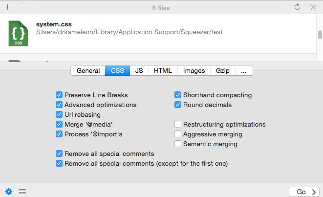 Puedes configurar las opciones de minificación y optimización para cada tipo de archivo según tus necesidades.