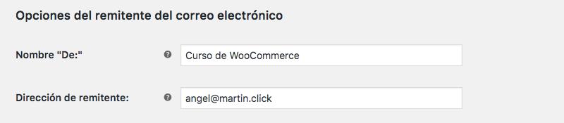 Configura quién será el remitente de todas las notificaciones con estas opciones