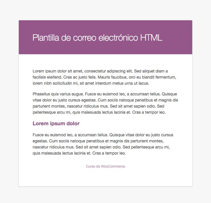 Previsualización de la plantilla HTML para las notificaciones por correo electrónico de WooCommerce