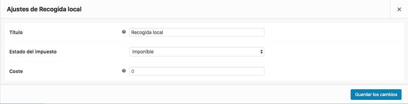 Define el importe que se aplicará a la recogida local en función de la zona de envío en la que se encuentre el usuario