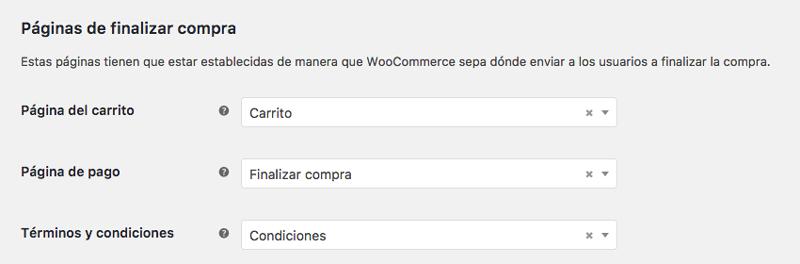 Puedes indicarle a WooCommerce qué páginas quieres que funcionen como carrito, checkout y condiciones de tu ecommerce