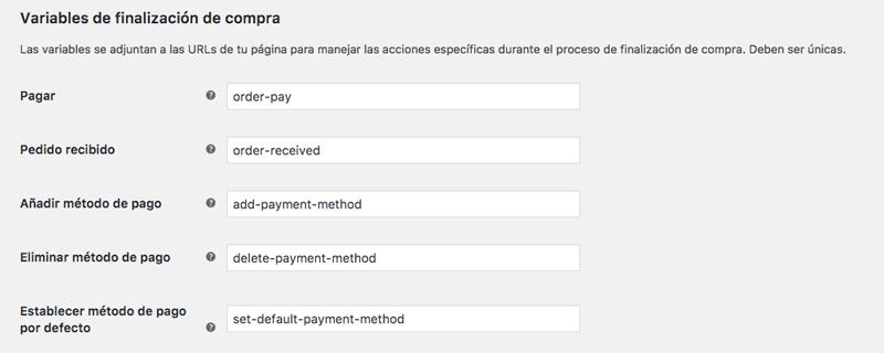 Las variables manejan acciones específicas durante el proceso de finalización de compra