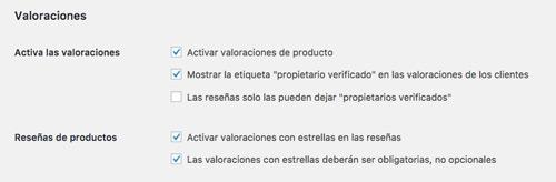 Valoraciones de producto en los ajustes de producto de WooCommerce.