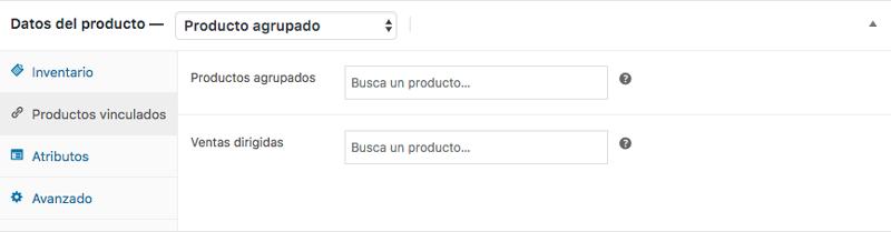 Añade los productos que quieras agrupar a través del buscador Productos agrupados