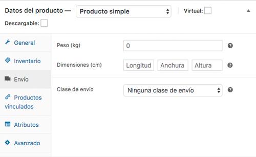 Detalla los datos necesarios para calcular la tarifa de envío del producto