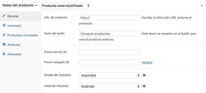 Metabox de datos del producto de un producto externo/afiliado
