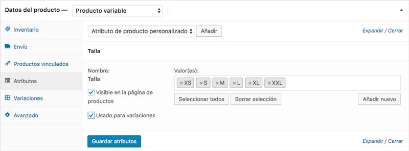 En el ejemplo, añade la talla como atributo y selecciona los valores que quieres que formen las variaciones del producto