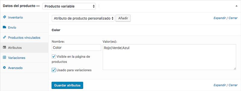 Define los distintos atributos del producto a través de la opción atributo personalizado
