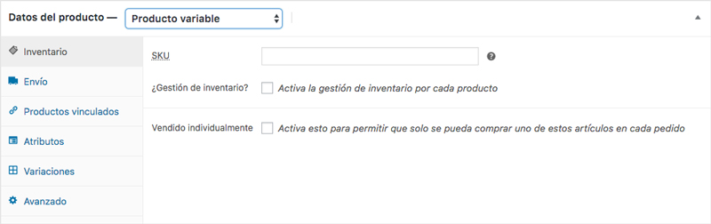 Metabox con las pestañas de configuración correspondientes a un producto variable