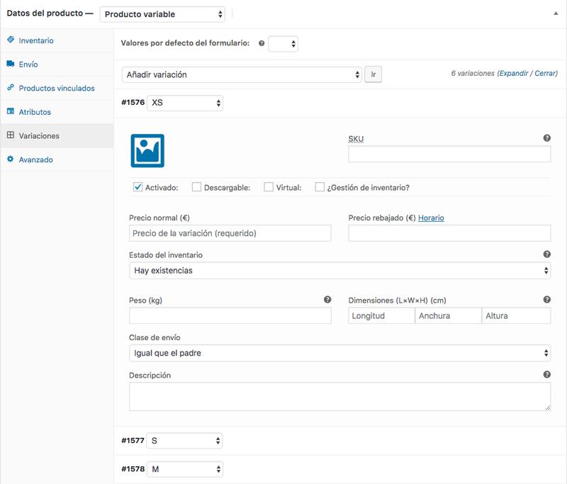 Opciones de configuración disponibles para cada variación de tu producto variable
