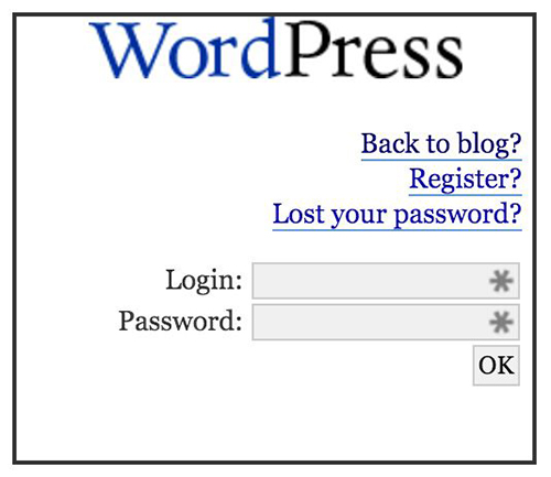 Aspecto de la ventana de login de WordPress 1.0