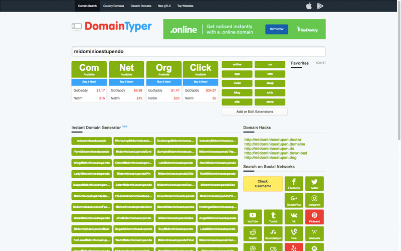 Cómo buscar dominios para tu proyecto con DomainTyper