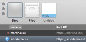 Haz doble click sobre el sitio al que quieras acceder para que Coda se conecte con el servidor