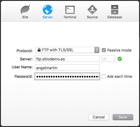 Completa los campos según la configuración de tu proveedor de hosting