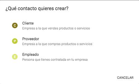 Los contactos incluyen los clientes, proveedores y empleados de tu proyecto