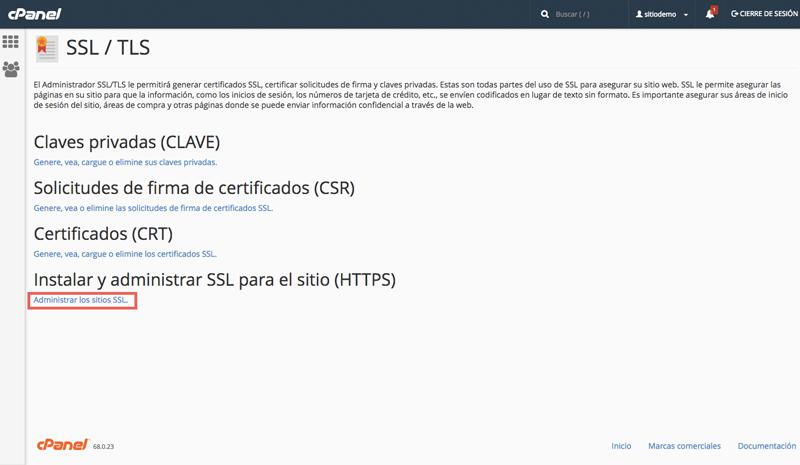 Selecciona la opción Administrar los sitios SSL