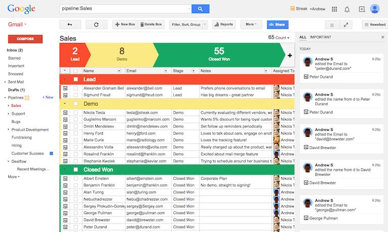Vista del panel de CRM de Streak sobre Gmail
