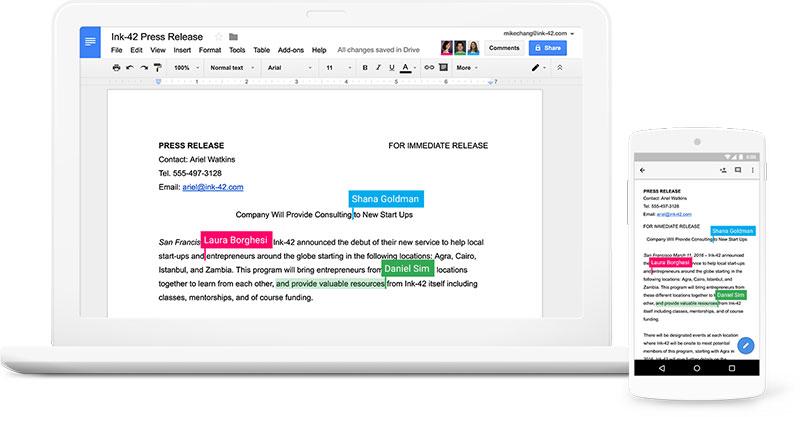 G Suite: todo lo necesario para trabajar de forma eficaz - Con G Suite pueden trabajar varias personas a la vez en el mismo documento.