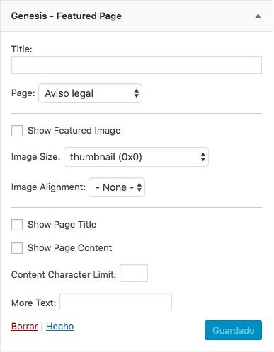 Opciones del widget Genesis Featured Page