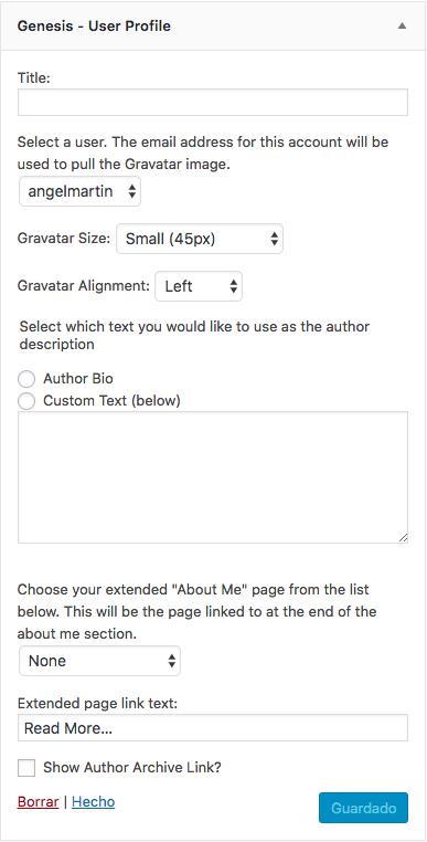 Opciones del widget Genesis User Profile