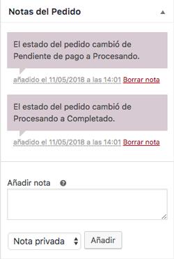 Las notas del pedido documentan todos los procesos automáticos y manuales por los que pasa el pedido de un cliente