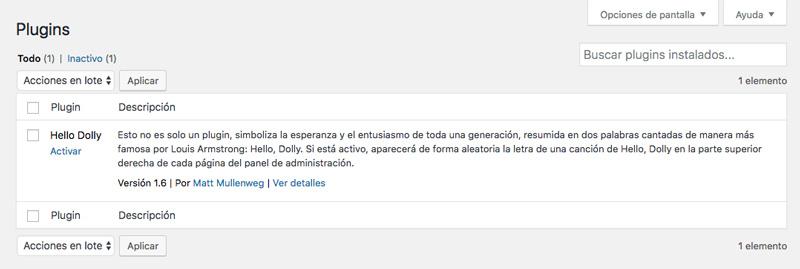 El administrador del sitio secundario puede activar o desactivar el plugin, pero no puede eliminarlo de su sitio
