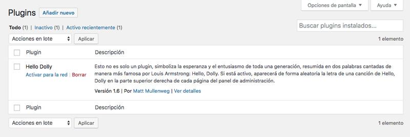 Al instalar un plugin en tu WordPress Multisite, éste aparecerá como disponible en todos los sitios secundarios de tu red