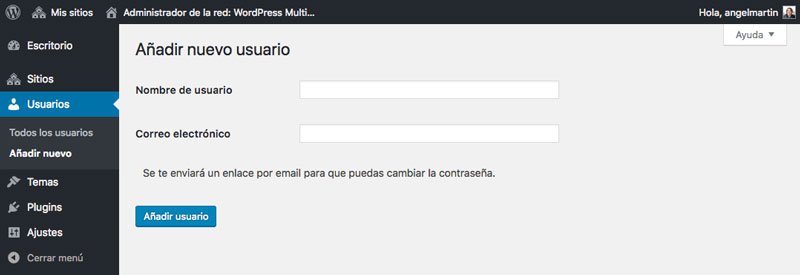 Introduce el nombre de usuario y la dirección de correo electrónico para añadir un nuevo usuario a tu red de sitios
