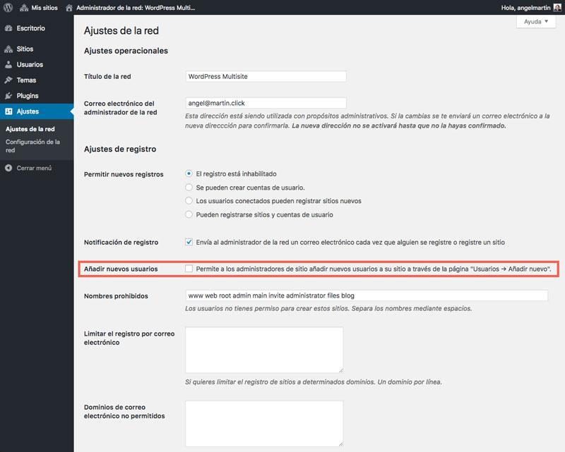 Activa o desactiva el check de Añadir nuevos usuarios según necesites que los administradores de los sites secundarios puedan agregar usuarios