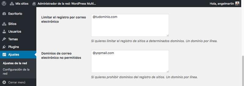 Utiliza las restricciones de dominio para limitar el registro de usuarios o para combatir el SPAM en tu red de sitios