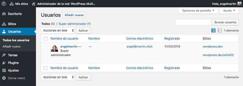El listado de todos los usuarios te permite conocer el estado de cada usuario registrado en tu red de sitios