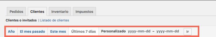 Puedes filtrar los informes de WooCommerce en función del rango temporal que prefieras