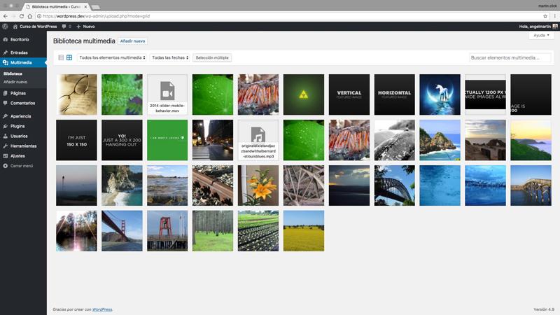 Biblioteca multimedia en formato vista de cuadrícula