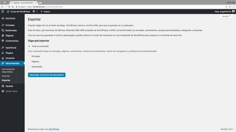 Selecciona qué contenido quieres exportar de tu web para generar el archivo XML de exportación