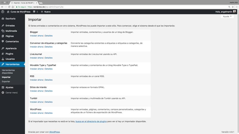 Opciones para importar contenido desde otras plataformas a tu WordPress