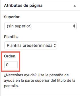 Orden personalizado de páginas