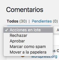 Acciones en lote de comentarios de WordPress