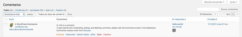 Opciones de moderación de comentarios de WordPress.