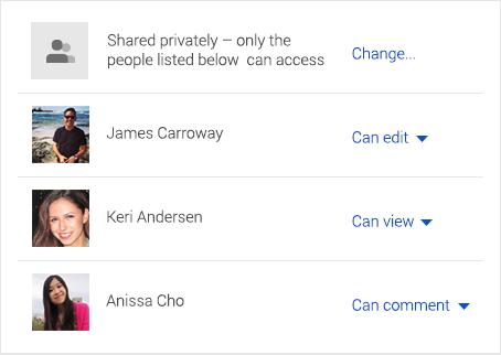 Con Drive tú puedes elegir con quién compartes tus archivos y el permiso de edición que quieres asignar a cada uno de ellos