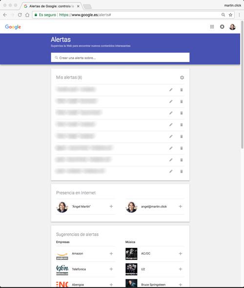 Ventana principal de Google Alerts