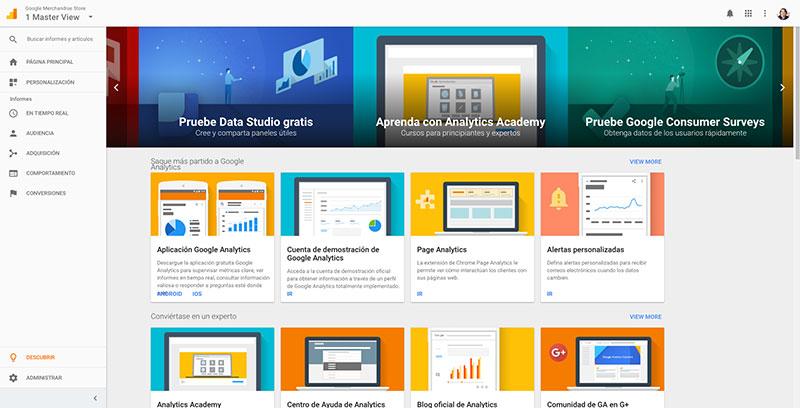 Novedades y mejoras en Google Analytics - Página 'Descubrir'