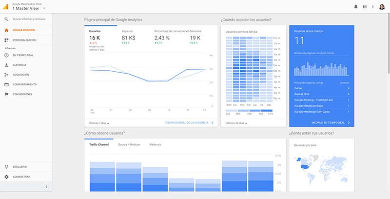 Novedades y mejoras en Google Analytics - Página 'Inicio'
