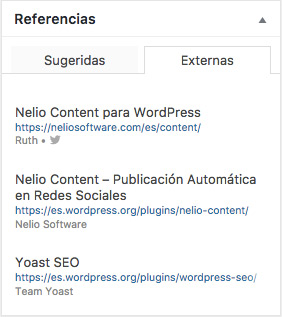 Panel de referencias de Nelio Content