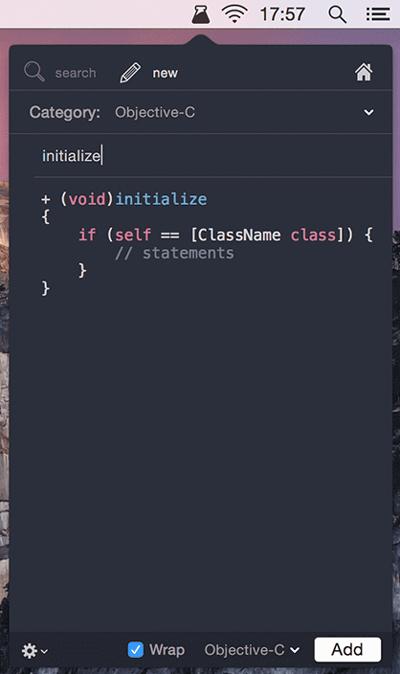 El asistente de SnippetsLab te permite acceder a tus fragmentos de forma fácil o añadir uno nuevo sobre la marcha