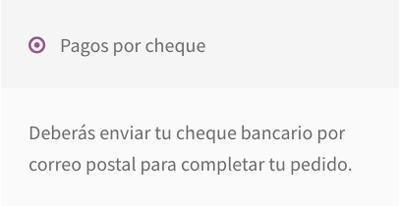 Vista de cómo aparece el pago con cheque bancario en las opciones de pago de la página de checkout.