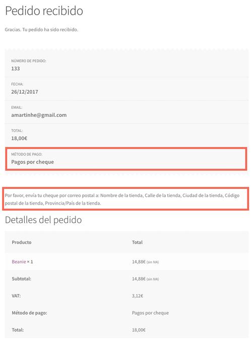 El usuario recibe las instrucciones para realizar el envío del cheque bancario en la página de resumen de pedido...