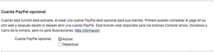 Activa la Cuenta PayPal opcional para que tus usuarios puedan pagar sin tener una cuenta PayPal