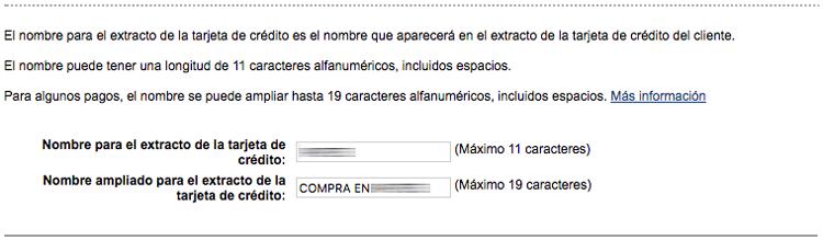 Indica el nombre de tu proyecto que quieres que aparezca en los extractos bancarios de tus usuarios
