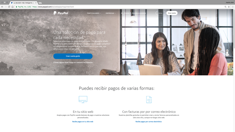 Vista de la home de Paypal para Empresas