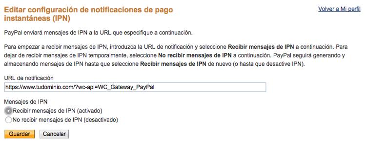 Indica la URL de notificación para que PayPal se comunique con WooCommerce